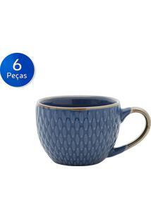 Conjunto De Xícaras Para Café 6 Peças 90 Ml 27606 -Bon Gourmet - Azul