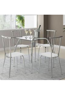 Mesa 1502 Vidro Incolor Cromada Com 4 Cadeiras 154 Branca Carraro