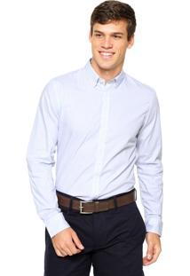 Camisa Lacoste Listras Azul/Branca