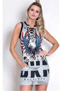Vestido Rock Code Moletom Eagles Ny - Feminino-Cinza