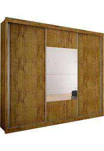 Guarda-Roupa Casal Com Espelho Trento Ii 3 Pt Freijó Dourado