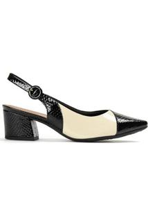 Sapato Piccadilly Chanel Salto Médio Feminino - Feminino-Preto