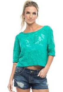 Blusa Texturizada Com Transparãªncia - Verde - Vestemvestem