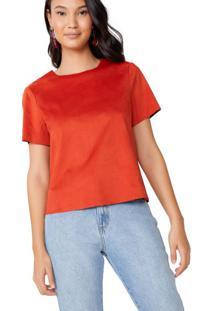 Amaro Feminino Camiseta Manga Curta Suede, Vermelho
