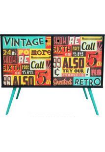 Aparador Com 2 Portas 0118 Phorman - Preto/Placas Vintage