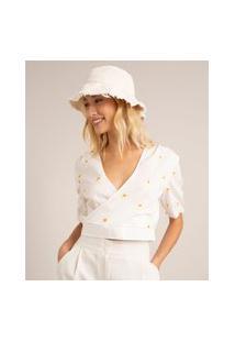 Blusa Cropped Transpassada De Algodão Com Bordados Florais E Babado Manga Bufante Decote V Off White