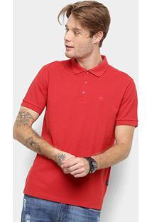 Camisa Polo Cavalera Piquet Básica Lisa Masculina - Masculino-Vermelho Escuro
