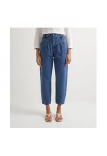 Calça Baggy Em Jeans Com Pregas Na Cintura   Marfinno   Azul   48