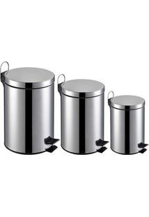 Kit De Lixeiras Comum 3, 5 E 12 Litros Inox Carrefour Home Ho170613