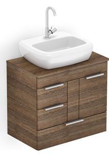 Gabinete Para Banheiro Em Mdf Com Cuba Fit 60X38Cm Wengué