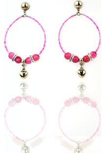 Brinco Feminino Racy Modas Luxo Pink Heart