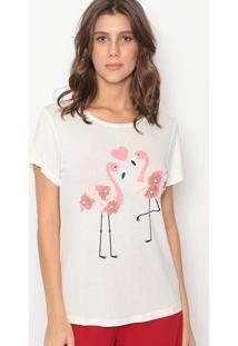 Blusa Flamingos- Off White & Rosa- Cavalaricavalari