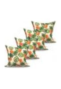 Conjunto De Capas Para Almofada Com 4 Peças Tropical Laranja E Verde 60X60 Cm