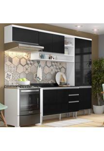 Cozinha Completa Com 4 Peças Suíça Multimóveis Branco/Preto