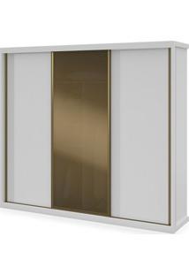 Armário 03 Portas De Correr E 01 Com Vidro Reflecta, Branco, Turim