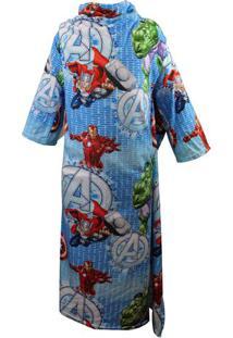 Cobertor Com Mangas Avengersâ®- Azul Claro & Vermelhozona Criativa