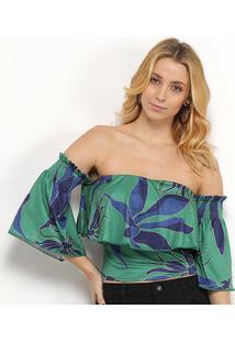 Blusa Morena Rosa Cropped Tropical Ombro A Ombro Feminina - Feminino-Verde+Azul