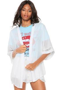 Kimono Coca-Cola Jeans Recorte Branco