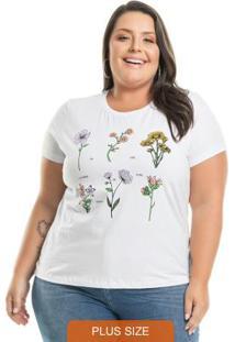 T-Shirt Com Estampa Floral Branco