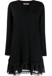Twin-Set Broderie Anglaise Knitted Flounce Dress - Preto