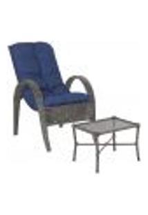 Jogo Cadeira 1Un E Mesa P/ Jardim Edicula Varanda Descanso Trama Napoli Plus Tabaco A29