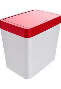 Lixeira Para Pia 5 Litros Smart - Branco/Vermelho - Multistock