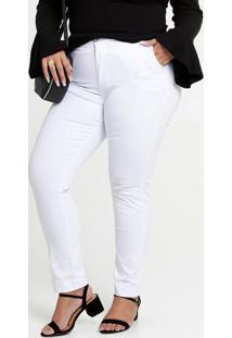 Calça Feminina Sarja Skinny Bolsos Plus Size Razon