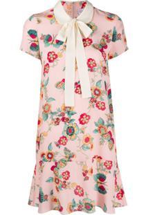 Redvalentino Vestido Com Estampa De Borboleta E Flor - Rosa