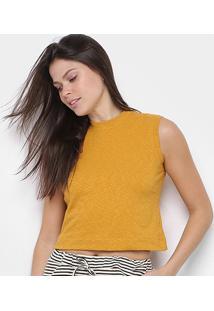 Blusa Osklen Cropped Rustic Feminina - Feminino-Amarelo Escuro