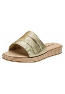 Sandália Chinelo Slide Feminina Domidona Confortável Dourada
