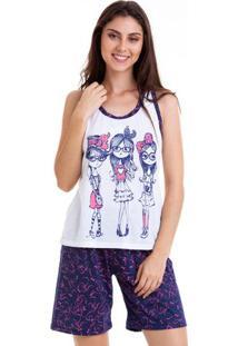 Pijama Bermudoll Nadador Estampado Feminino Adulto Luna Cuore