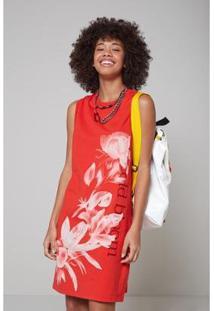 Vestido Oh, Boy! Retilínea Silk Flor Feminino - Feminino-Vermelho