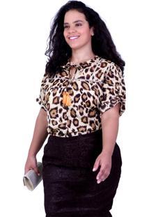 Blusa Bicho Karolyn Plus Size Vickttoria Vick Plus Size Marrom - Marrom - Feminino - Dafiti