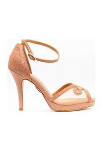 Sandália Salto Fino 10Cm Glitter Rosê Cbk