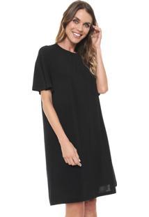 Vestido Cantão Curto Liso Preto