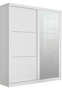 Guarda-Roupa Prático Robel Branco Madeirado 2 Portas De Correr Com 3 Espelhos