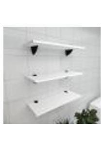 Kit 3 Prateleiras Para Banheiro Em Mdf Suporte Tucano Branco 60X20Cm Modelo Pratbnb12