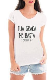 Blusa Criativa Urbana Tua Graça T-Shirt Feminina - Feminino-Branco