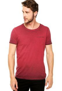 Camiseta Manga Curta Calvin Klein Jeans Logo Vinho