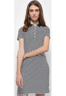 Vestido Camisa Polo Tommy Hilfiger New Chiara Str Listrado - Feminino-Azul+Branco