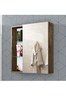 Armário Para Banheiro 1 Porta Deslizante Nancy Madeira Rústica - Bechara Móveis