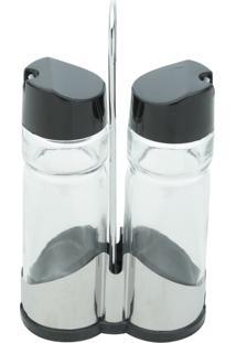 Galheteiro 2 Peças Em Vidro E Plástico E Suporte Em Inox Donatello - Bon Gourmet - Transparente