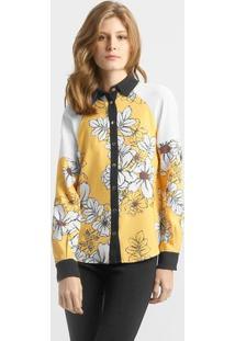 Camisa Carina Duek Guitar Floral - Feminino-Amarelo+Branco