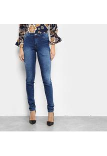 Calça Jeans Skinny Coffee Estonada Feminina - Feminino-Azul