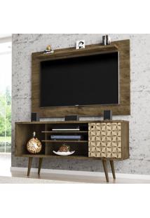Rack Com Painel Para Tv Até 50 Polegadas Safira Madeira Rústica/3D - Móveis Bechara