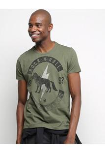 Camiseta Acostamento Rock Edition Masculina - Masculino-Verde Militar