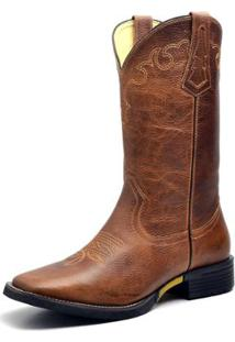 Bota Couro Country Texana Top Franca Shoes Masculino - Masculino-Marrom
