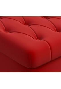 Puff Banco Decorativo Baú Quadrado 51Cm Com Capitone Vermelho