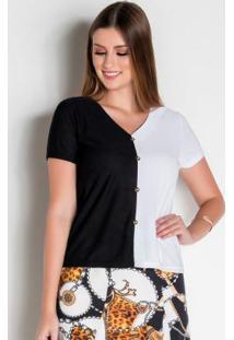 Blusa Bicolor Com Detalhe De Botão Moda Evangélica