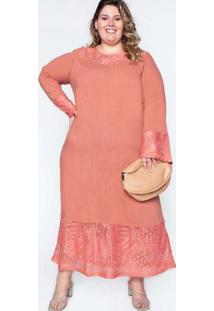 Vestido Almaria Plus Size Garage Com Renda Rosa